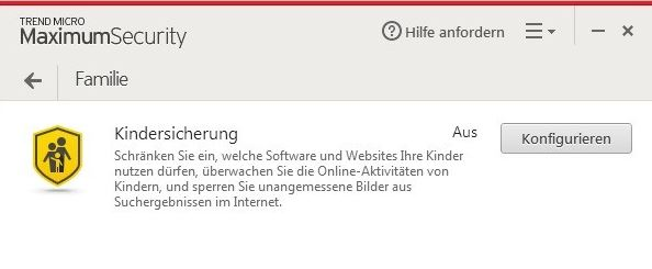 Trend Micro Maximum Security Kindersicherung