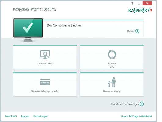 Kaspersky Internet Security 2015 - Oberfläche